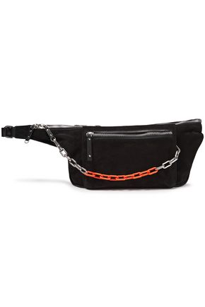 RAG & BONE Chain-trimmed suede and leather belt bag