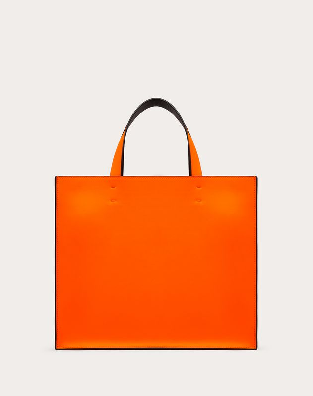 Small VLOGO Neon Calfskin Shopper
