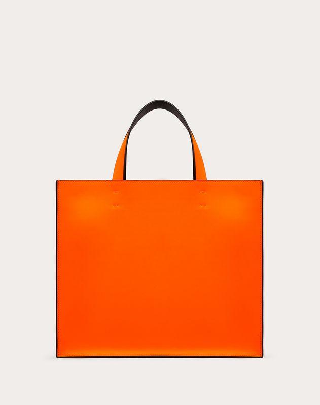Kleiner Shopper VLOGO aus neonfarbenem Kalbsleder