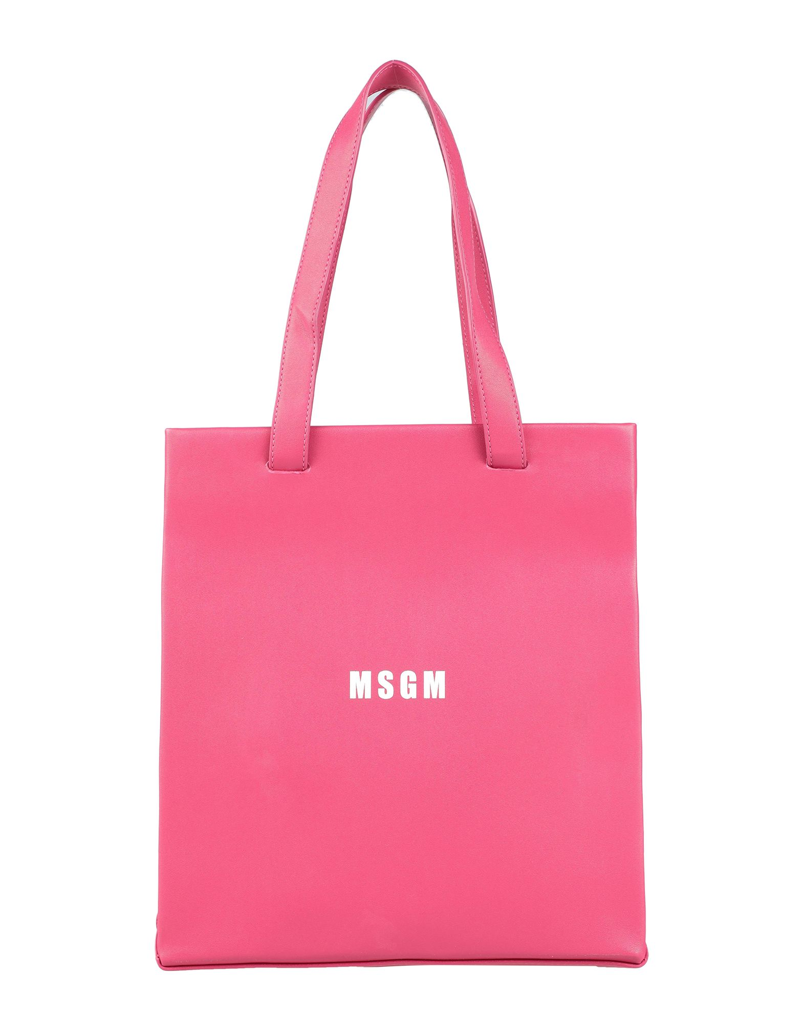 MSGM Handbags. faux leather, logo, solid color, magnetic fastening, double handle, medium. 100% Polyurethane