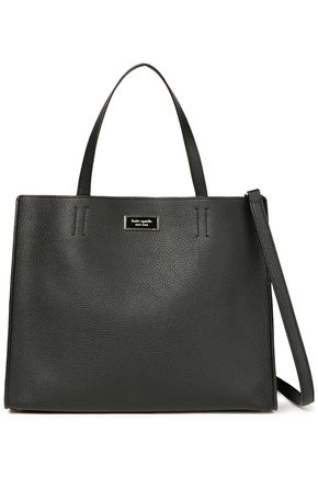 KATE SPADE New York Sam large logo-appliquéd pebbled-leather shoulder bag