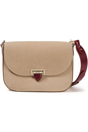 ASPINAL OF LONDON Slouchy Saddle two-tone pebbled-leather shoulder bag