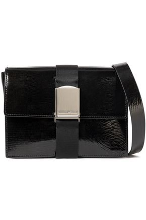 McQ Alexander McQueen Christine Deluxe glossed lizard-effect leather shoulder bag