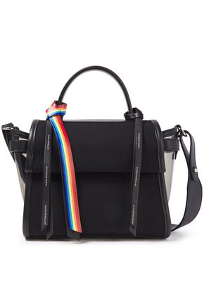 ELENA GHISELLINI Angel leather and PVC-trimmed cotton-canvas shoulder bag