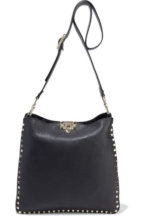 VALENTINO GARAVANI Rockstud pebbled-leather shoulder bag