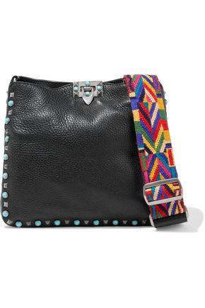 VALENTINO GARAVANI Rolling Rockstud embellished textured-leather shoulder bag