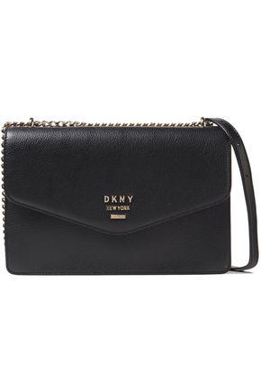 DKNY حقيبة كتف من الجلد المحبب مزينة بشعار الماركة