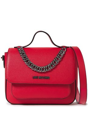 LOVE MOSCHINO Chain-trimmed logo-embellished faux textured-leather shoulder bag