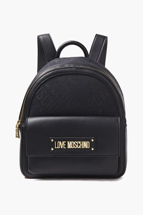 LOVE MOSCHINO حقيبة ظهر من الجاكار والجلد الاصطناعي مزينة بشعار الماركة