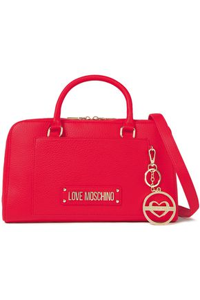 LOVE MOSCHINO Logo-appliquéd pebbled-leather shoulder bag