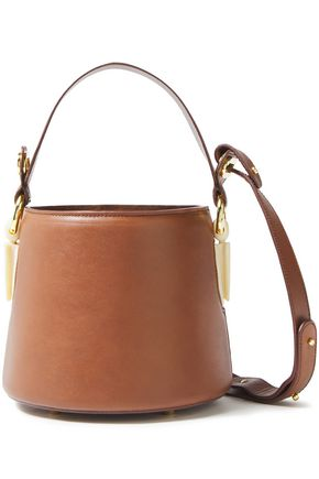 AEVHA LONDON Linterna chain-embellished leather bucket bag
