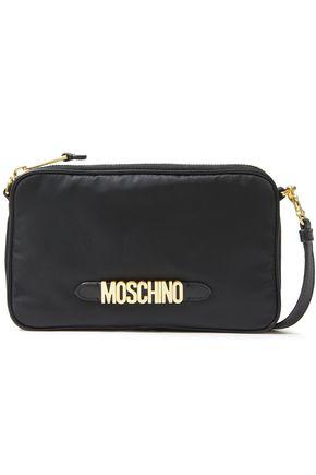 MOSCHINO حقيبة كتف من قماش مقاوم للماء مزيّنة بالجلد وبشعار الماركة