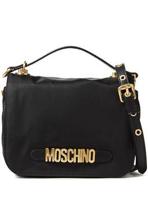 MOSCHINO حقيبة كتف من قماش مقاوم للماء مزيّنة بالجلد الاصطناعي