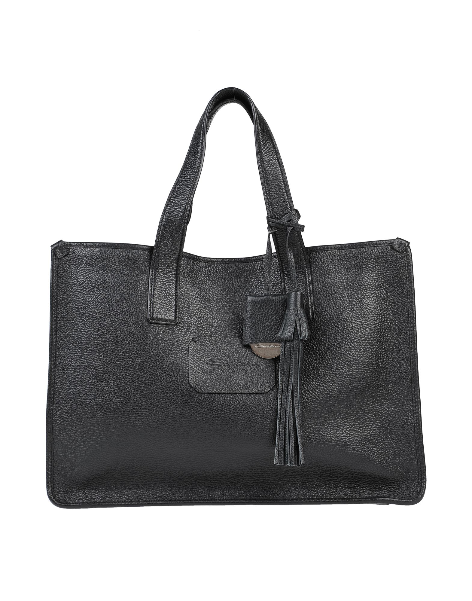 SANTONI Handbags. maxi, textured leather, tassels, logo, solid color, magnetic fastening, double handle, fully lined, contains non-textile parts of animal origin. Soft Leather