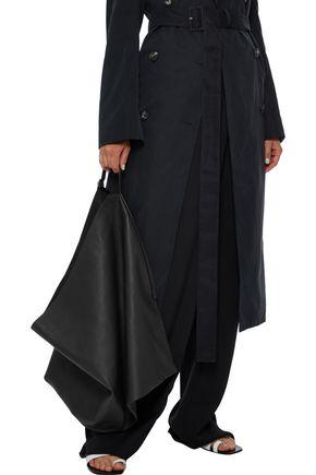 The Row Flat Hobo Large Leather Shoulder Bag In Black
