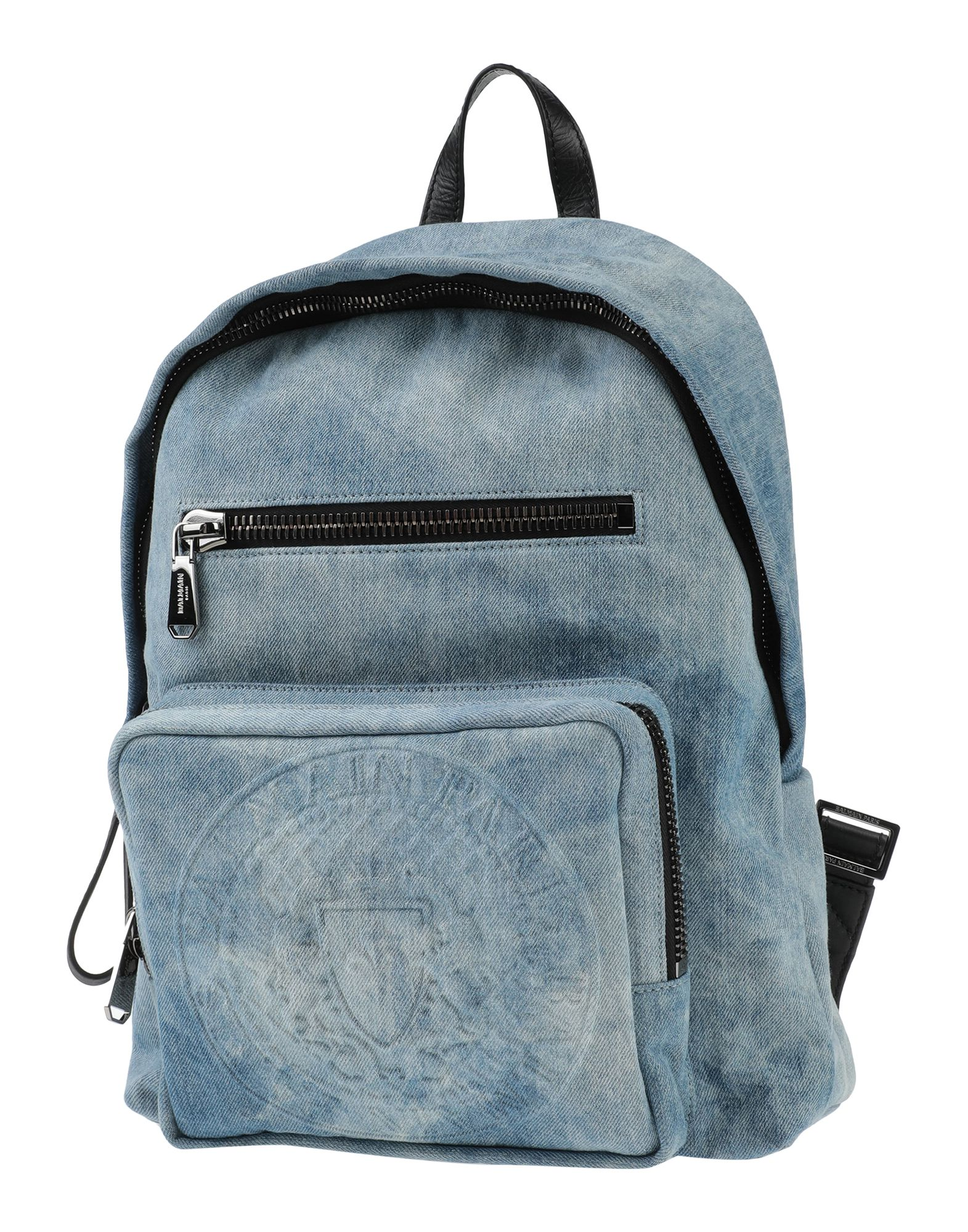 BALMAIN Backpacks & Fanny packs. denim, faded, logo, solid color, zipper closure, external pockets, internal pockets, maxi. Textile fibers