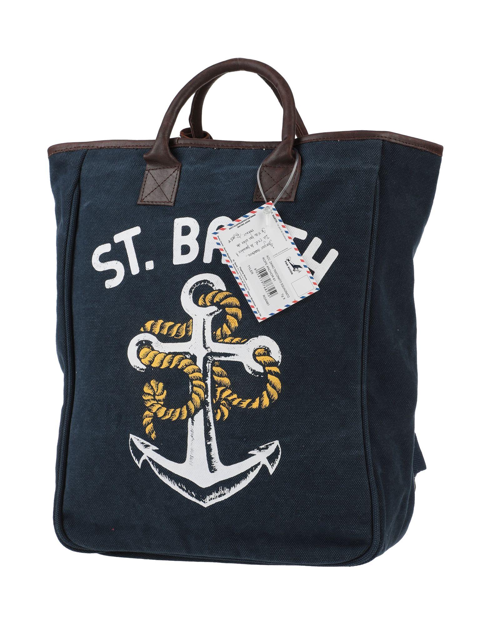 MC2 SAINT BARTH Backpacks & Fanny packs. maxi, plain weave, print, logo, solid color, zipper closure, external pockets, internal zip pocket, double handle, fully lined. 100% Cotton