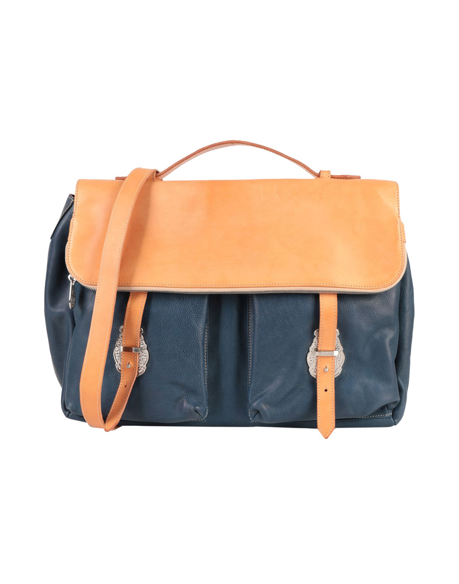 DONDUP Work Bags. leather, textured leather, maxi, logo, two-tone, framed closure, external pockets, internal pockets, fully lined, leather straps, stiff bottom, contains non-textile parts of animal origin. Soft Leather