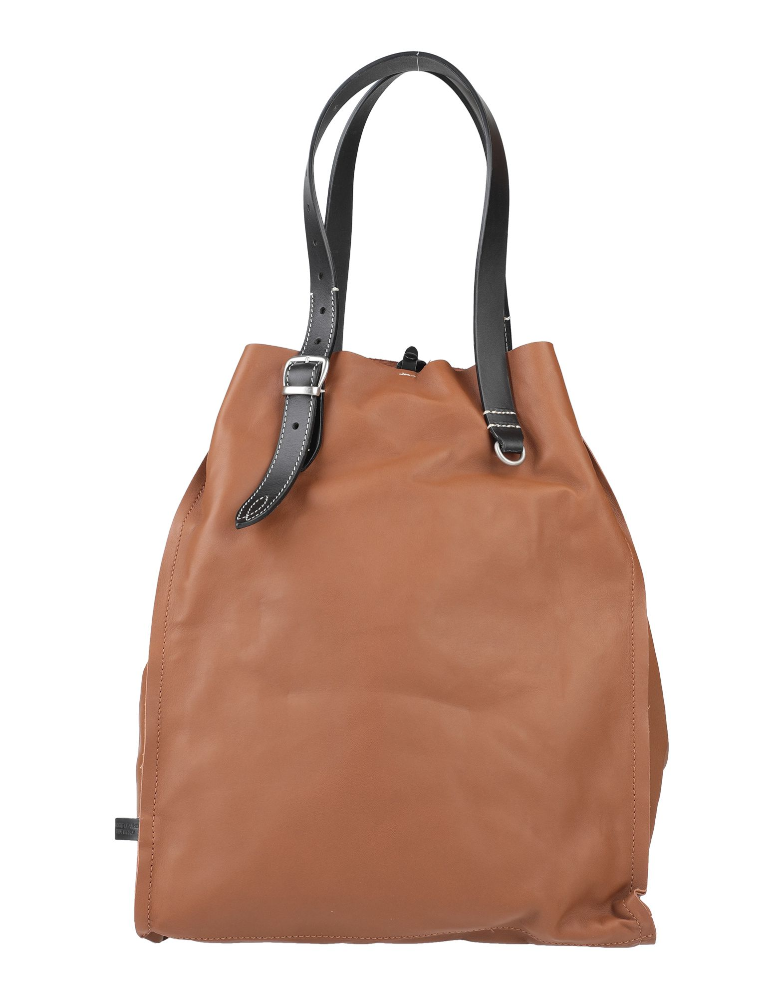 MAISON MARGIELA Handbags. maxi, leather, no appliqués, solid color, snap buttons fastening, internal pockets, double handle, fully lined, contains non-textile parts of animal origin. 100% Ovine leather