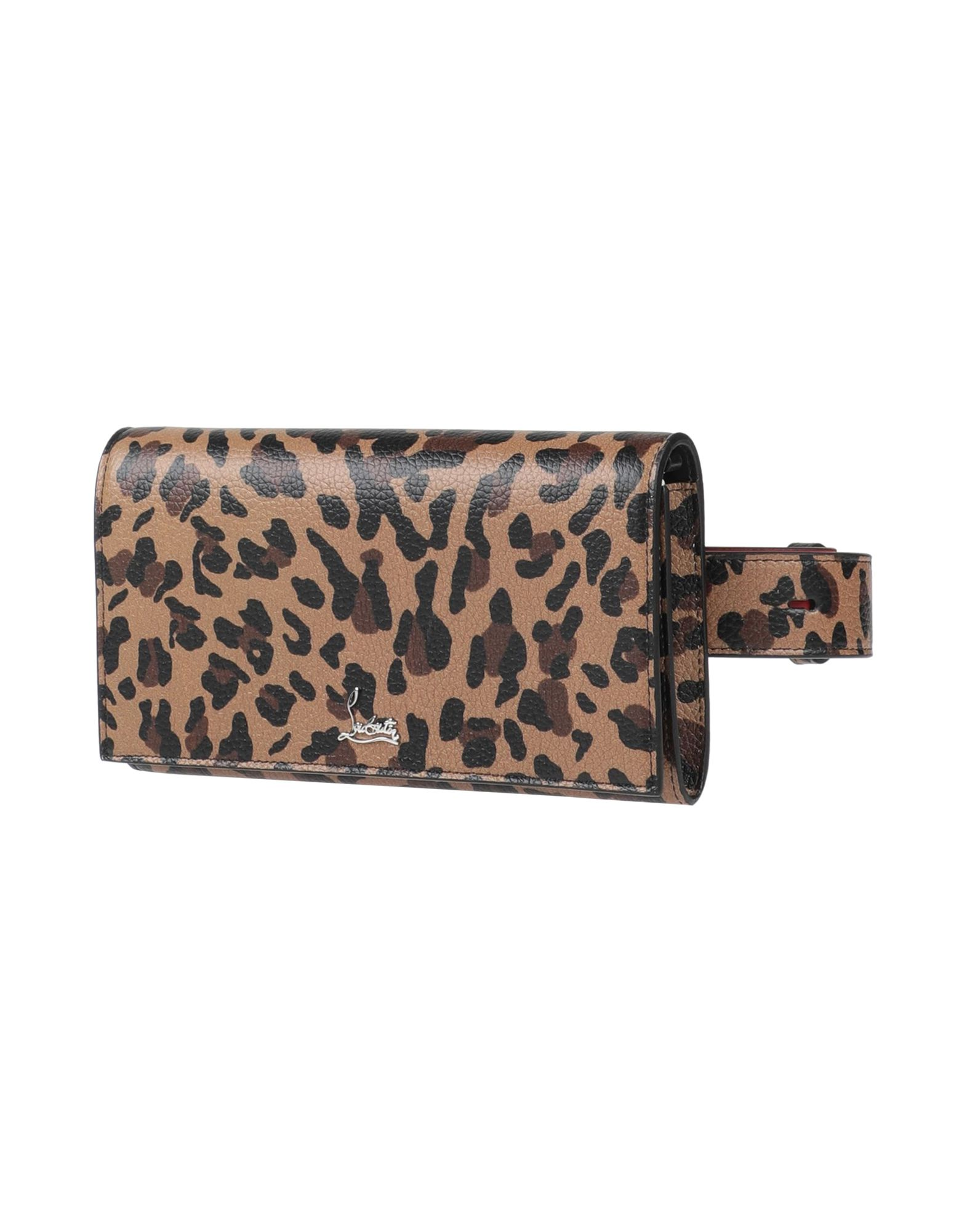 CHRISTIAN LOUBOUTIN Backpacks & Fanny packs. small, leather, logo, leopard-print, snap buttons fastening, removable shoulder strap, internal card slots, adjustable handle, contains non-textile parts of animal origin. Calfskin