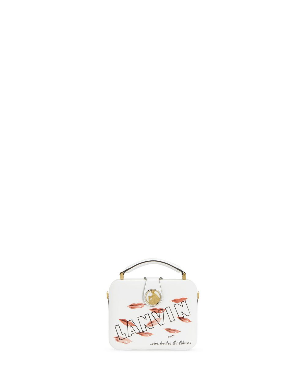 BENTO MINAUDIÈRE IN PATENT CALFSKIN LEATHER WITH LIPSTICK PRINT - Lanvin