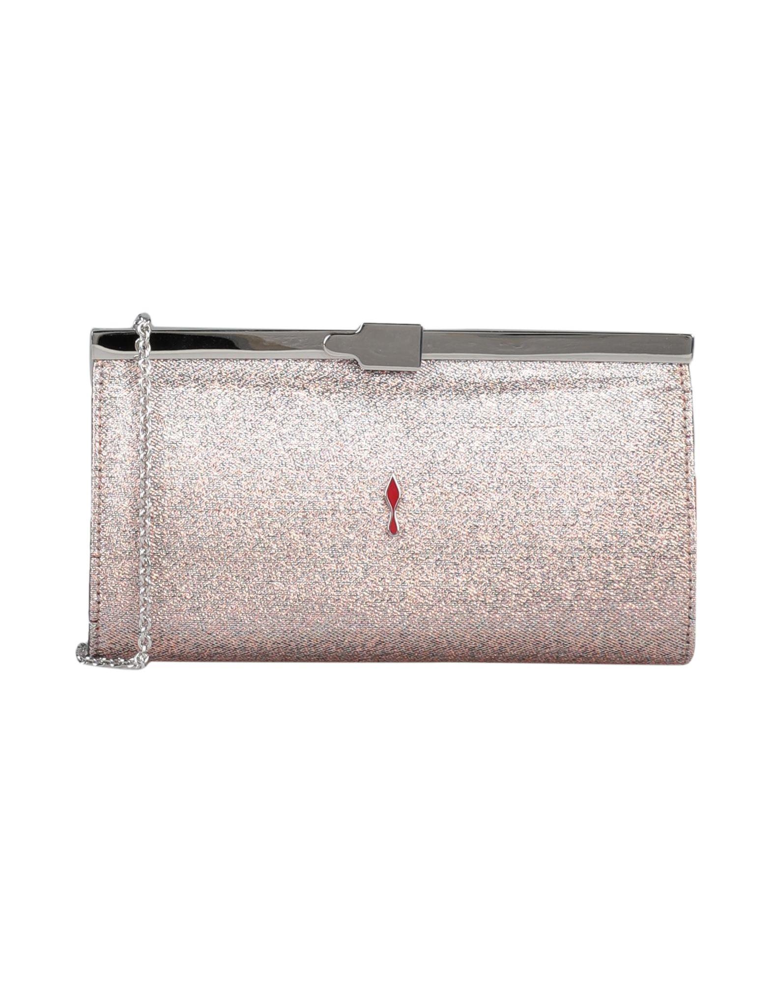 CHRISTIAN LOUBOUTIN Handbags. crepe, lamé, laminated effect, metal applications, logo, solid color, framed closure, bag handle, metallic straps, leather lining, mini. Textile fibers