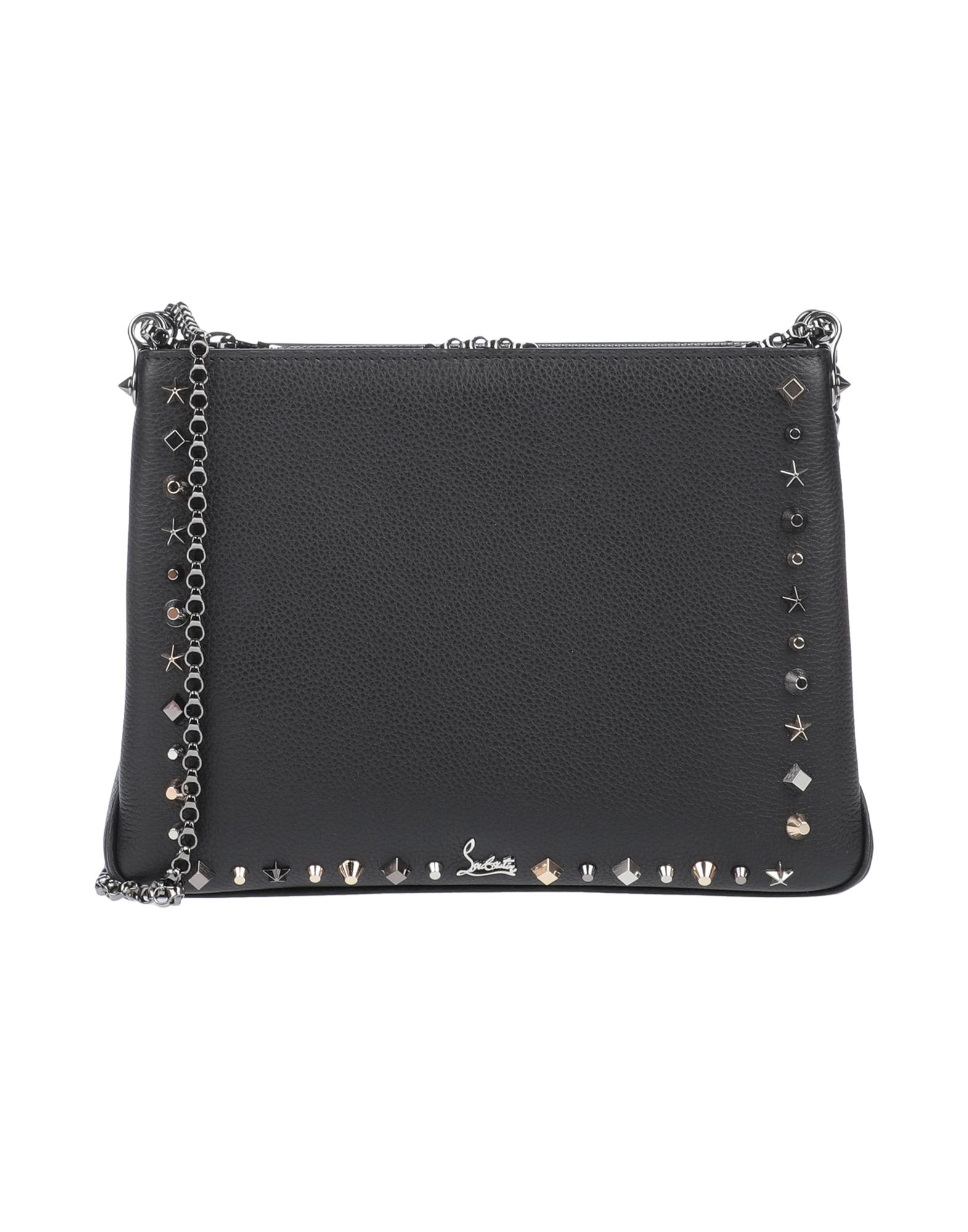 CHRISTIAN LOUBOUTIN Handbags. mini, textured leather, logo, studs, solid color, zipper closure, internal pockets, metallic straps, leather lining, contains non-textile parts of animal origin. Calfskin