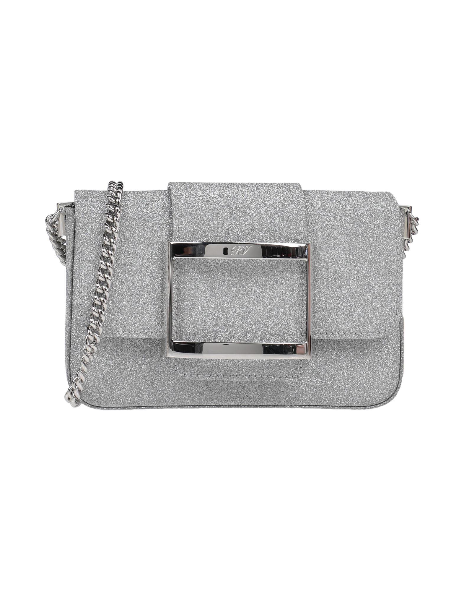 ROGER VIVIER Handbags. glitter, logo, mini, solid color, snap buttons fastening, fully lined, stiff bottom. Textile fibers