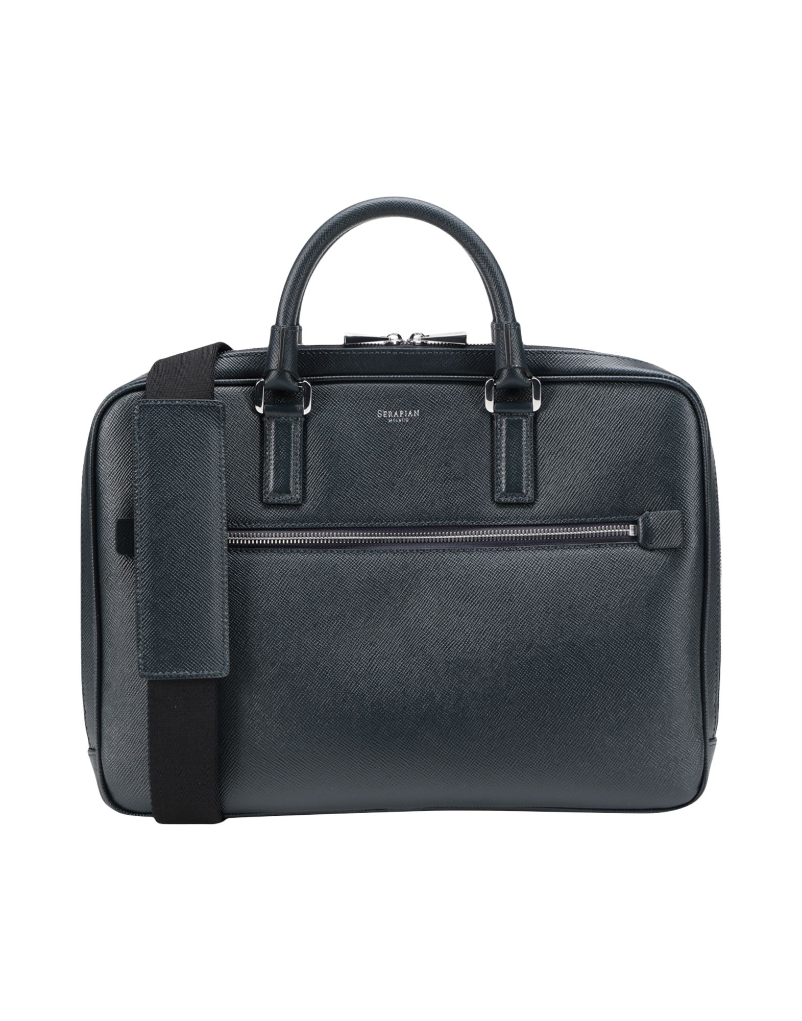 《セール開催中》SERAPIAN メンズ ブリーフケース ダークブルー 革 Extra slim briefcase Evoluzione
