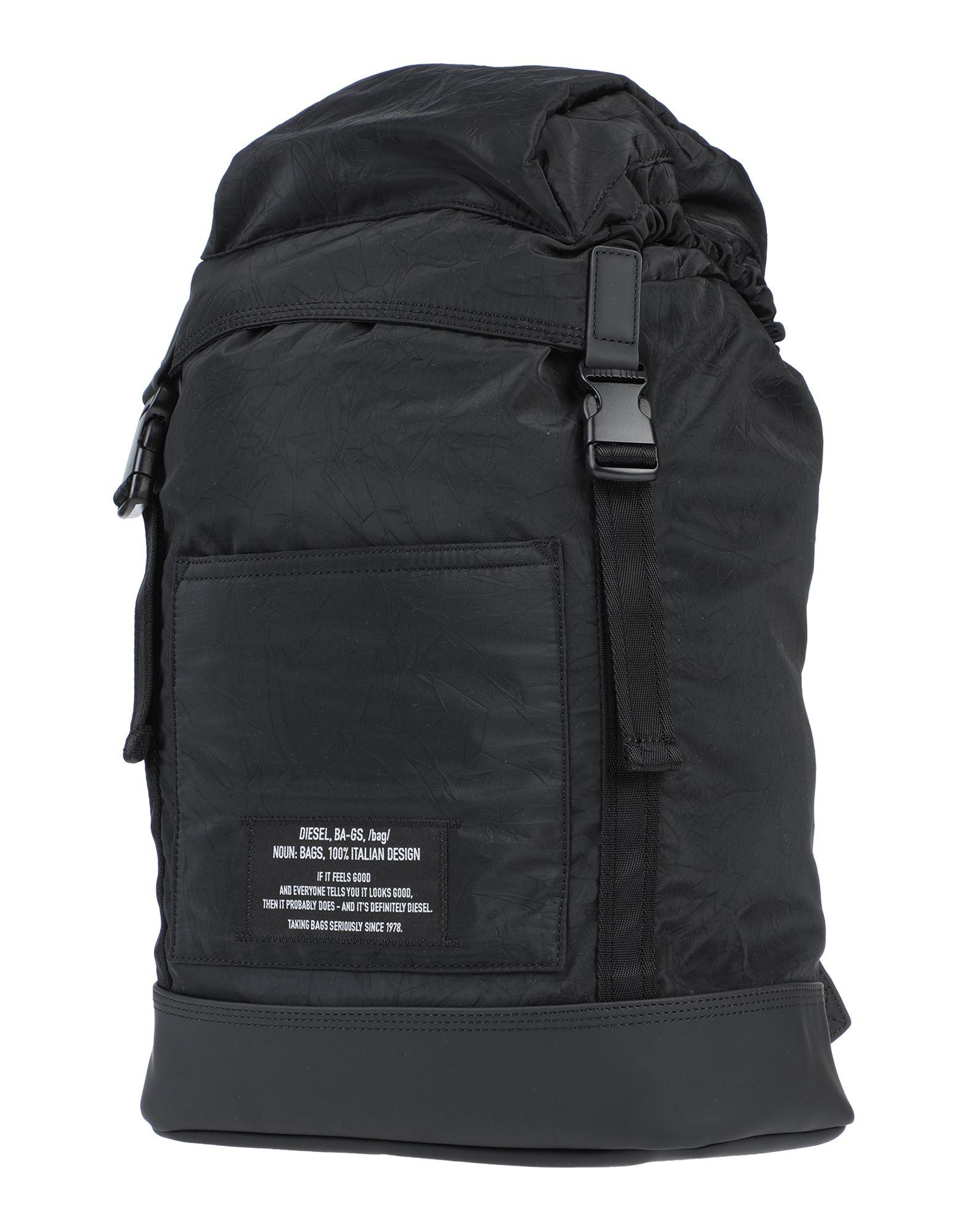 《セール開催中》DIESEL メンズ バックパック&ヒップバッグ ブラック ポリエステル 80% / ポリウレタン 20% / 真鍮/ブラス