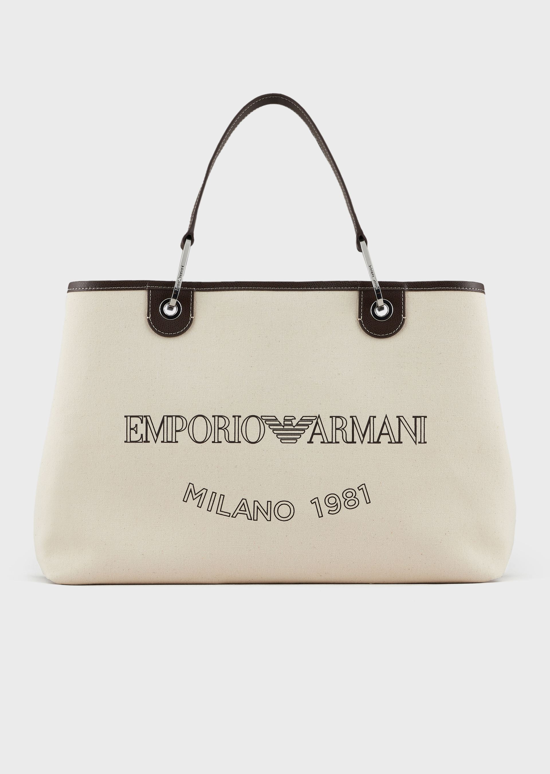 EMPORIO ARMANI Large canvas MyEA Bag shopper bag with logo