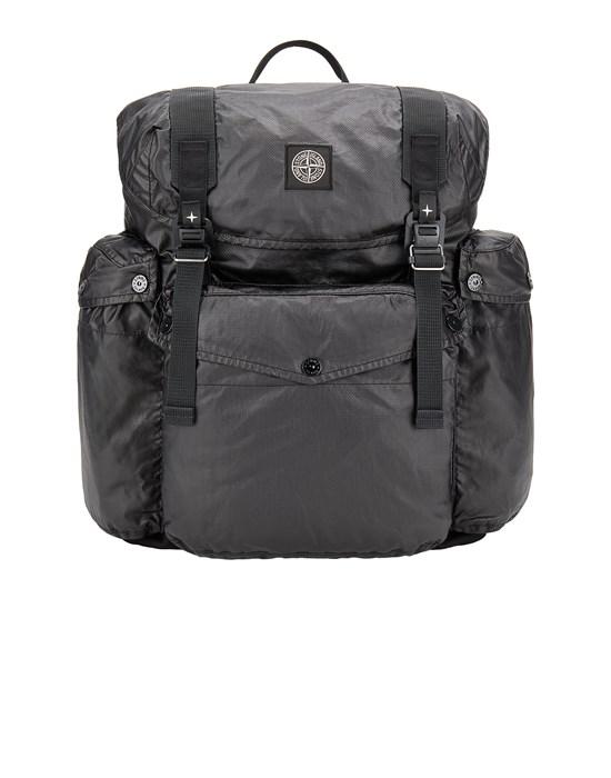 STONE ISLAND 90370 MUSSOLA GOMMATA CANVAS PRINT Backpack Man Black