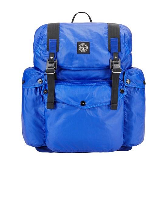STONE ISLAND 90370 MUSSOLA GOMMATA CANVAS PRINT Backpack Man Periwinkle