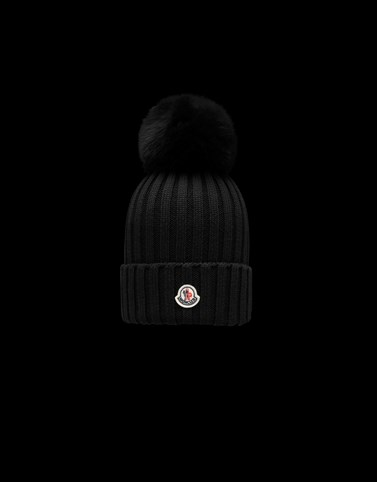 POMPOM BEANIE Black Hats Woman