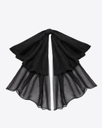 SAINT LAURENT Lavallière D Signature Large Bow In Black Silk Muslin With Leather Collar f
