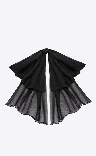 SAINT LAURENT Lavallière Woman Signature Large Bow In Black Silk Muslin With Leather Collar a_V4
