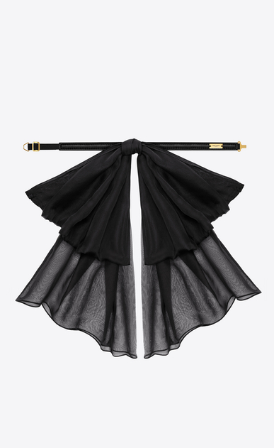 SAINT LAURENT Lavallière D Signature Large Bow In Black Silk Muslin With Leather Collar b_V4