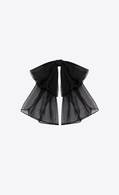SAINT LAURENT Lavallière Woman SIGNATURE SMALL BOW IN BLACK SILK MUSLIN WITH LEATHER COLLAR a_V4