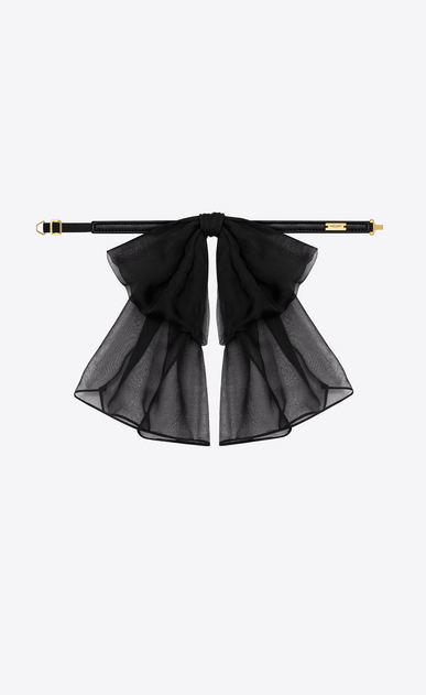 SAINT LAURENT Lavallière D SIGNATURE SMALL BOW IN BLACK SILK MUSLIN WITH LEATHER COLLAR b_V4