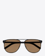 SAINT LAURENT Sunglasses E Classic 13 Aviator Sunglasses in Black Steel with Brown Lenses f