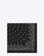 SAINT LAURENT Squared Scarves U Bandana Square Scarf in Black and White Paisley Printed Cashmere and Silk étamine f