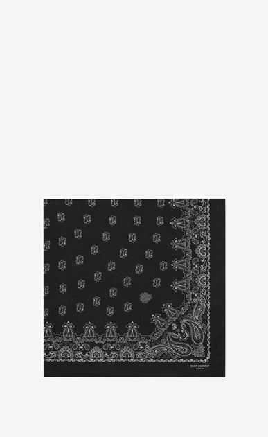 SAINT LAURENT Squared Scarves U Bandana Square Scarf in Black and White Paisley Printed Cashmere and Silk étamine a_V4