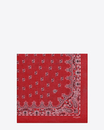 SAINT LAURENT Squared Scarves U Bandana Square Scarf in Red and White Paisley Printed Cashmere and Silk étamine f