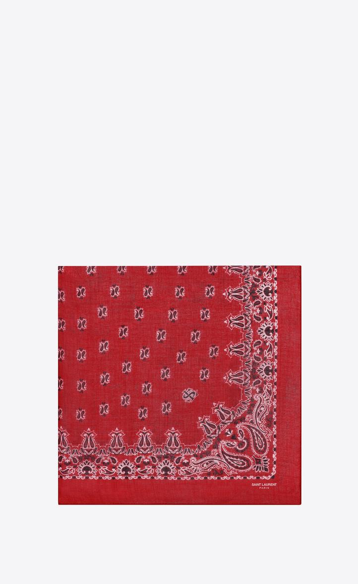 Carré bandana en étamine de cachemire et soie à imprimé cachemire rouge et  blanc, Vue f9d64a003eb