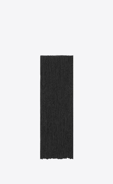 SAINT LAURENT Large scarves Man Signature Pleated Scarf in Black and White Micro Dot Printed Silk CRÊPE a_V4