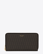 SAINT LAURENT Monogram SLG U LARGE Toile Monogram CLASSIC ZIP AROUND WALLET IN BLACK printed CANVAS AND LEATHER f