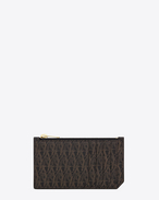 SAINT LAURENT Monogram SLG U Classic Toile Monogram 5 FRAGMENTS ZIPPED CASE IN BLACK printed CANVAS AND LEATHER f