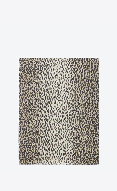 SAINT LAURENT Rectangular Scarf Woman stole in wool and silk with orginal beige and black babycat print a_V4