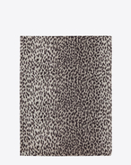 SAINT LAURENT Rectangular Scarf D Classic Stole in Pearl Grey and Black Babycat Printed Cashmere and Silk ÉTAMINE f
