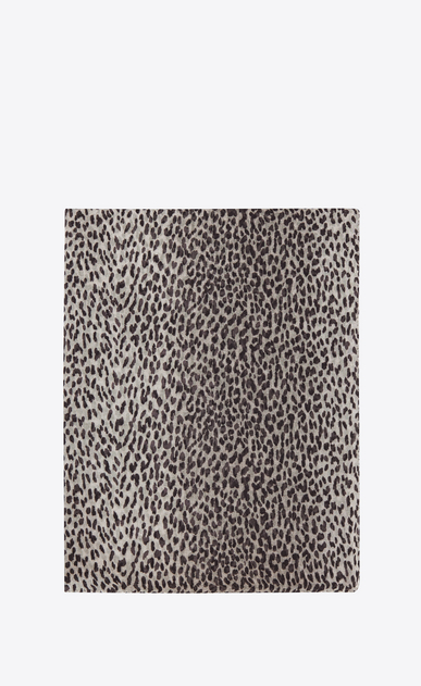 SAINT LAURENT Rectangular Scarf Woman stole in pearl grey and black babycat printed cashmere and silk étamine a_V4